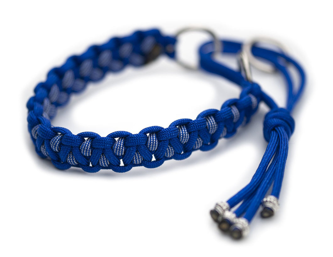 Martingale paracord collar in Electric Blue / Electric Blue & Silver Grey Stripes
