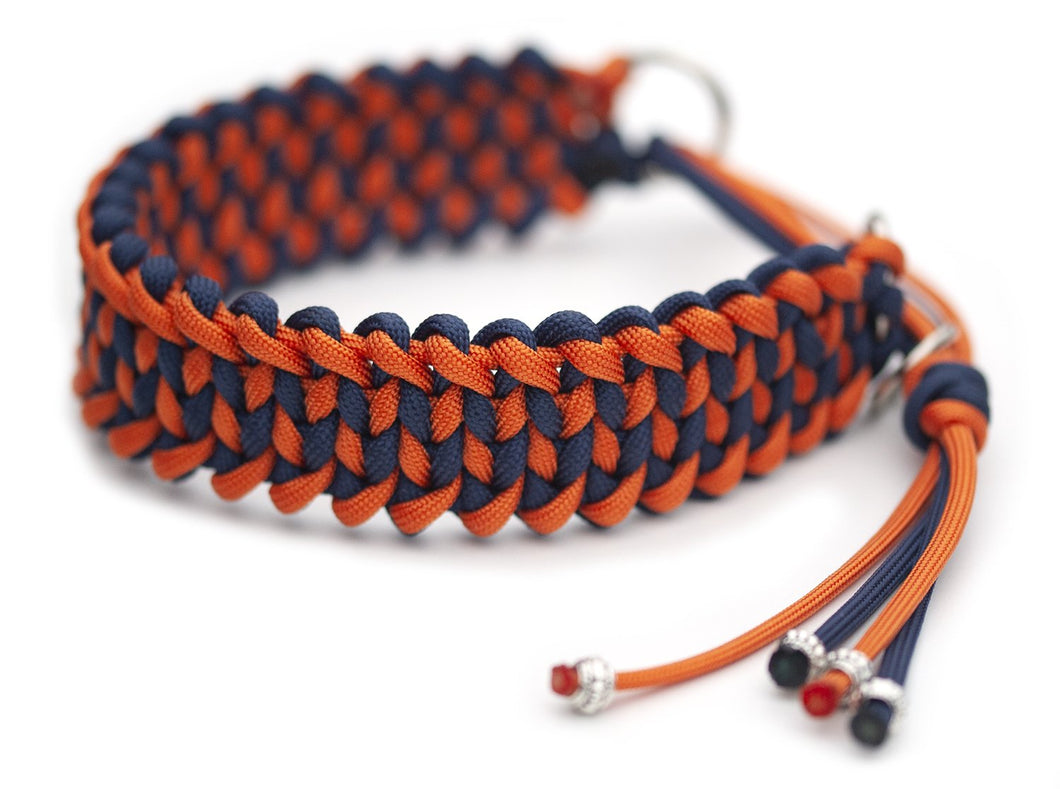 Martingale paracord collar in Fox Orange / Marine Blue