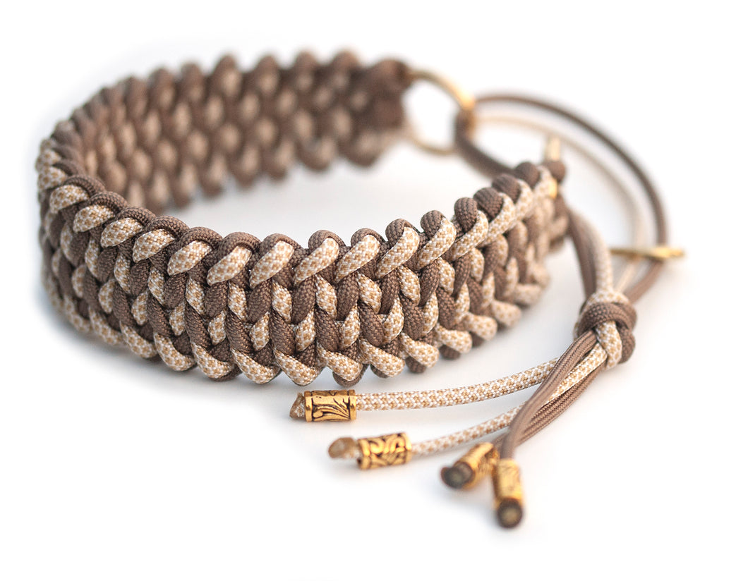 Martingale paracord collar in Gold Brown / White & Gold Diamonds