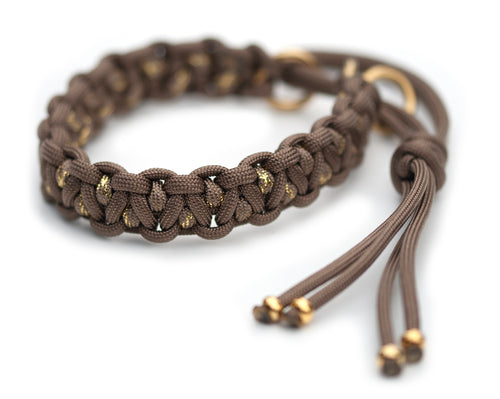 Martingale paracord collar in Goldbrown / Goldbrown & Gold Glitter