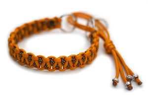 Martingale paracord collar in Goldenrod / Goldenrod Diamonds