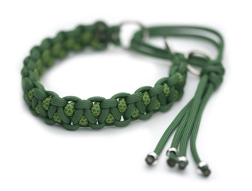 Martingale paracord collar in Greenstone / Leaf Green & Greenstone Diamonds