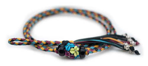 Kangaroo leather show lead in cerise, black, sky blue & yellow