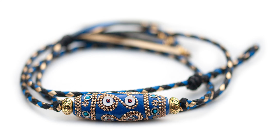 Kangaroo leather show lead in black, cobalt blue & gold