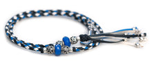 Kangaroo leather show lead in black, cobalt blue & white