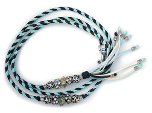 Kangaroo leather show lead in black, mint & baby blue