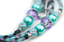 Kangaroo leather show lead in black, mint, lavender & sky blue