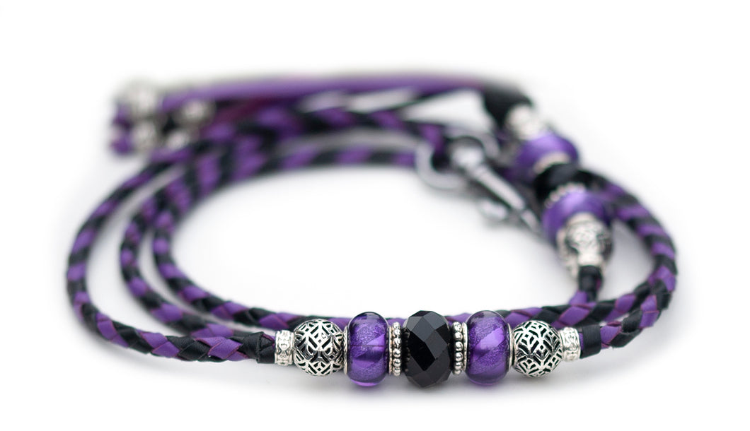 Kangaroo leather show lead in black & moroccan purple