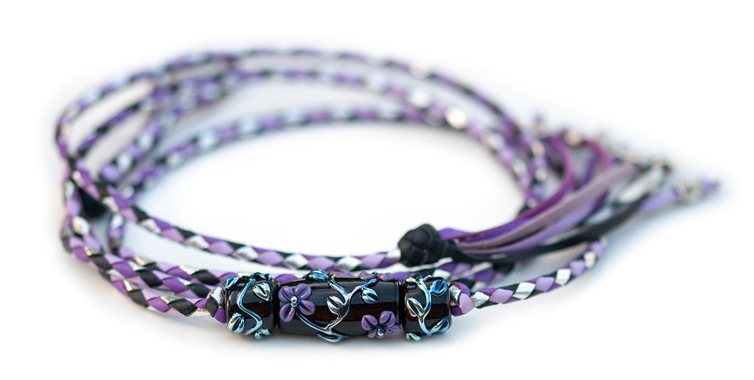 Kangaroo leather show lead in black, silver, moroccan purple & lavender