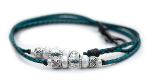 Kangaroo leather show lead in black & turquoise