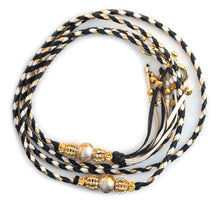 Kangaroo leather show lead in black, gold & white