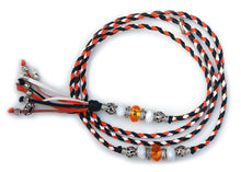 Kangaroo leather show lead in black, orange & white