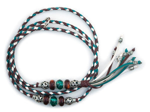 Kangaroo leather show lead in chestnut, white & turquoise