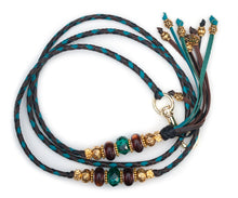 Kangaroo leather show lead in chocolate, black & turquoise