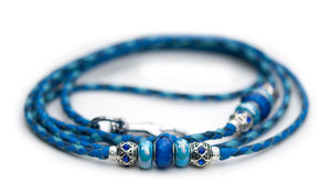 Kangaroo leather show lead in cobalt blue, royal blue & sky blue