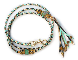 Kangaroo leather show lead in gold, mint & black