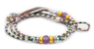 Kangaroo leather show lead in jade, lavender, white & yellow