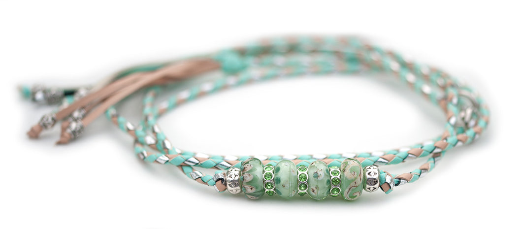 Kangaroo leather show lead in mint, natural & silver