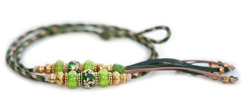 Kangaroo leather show lead in natural, apple, dark green & olive