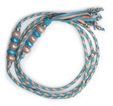 Kangaroo leather show lead in natural & sky blue
