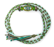 Kangaroo leather show lead in olive, apple & mint