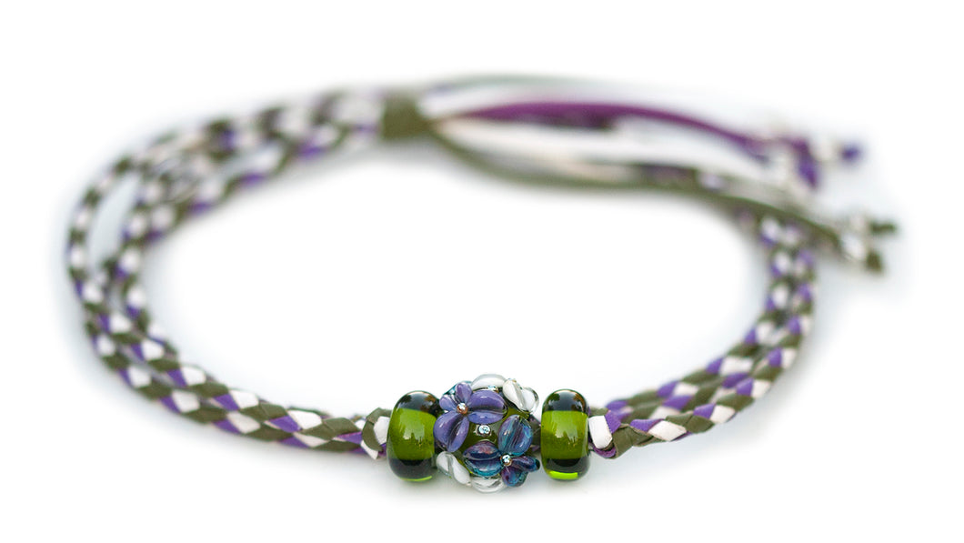 Kangaroo leather show lead in olive, white & moroccan purple