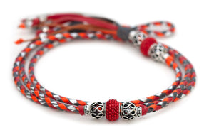 Kangaroo leather show lead in grey, red, orange & silver