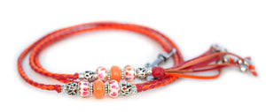 Kangaroo leather show lead in orange & red