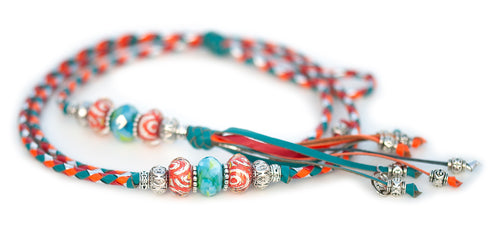 Kangaroo leather show lead in orange, red, silver & turquoise
