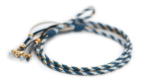 Kangaroo leather show lead in royal blue, baby blue & gold