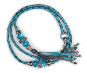 Kangaroo leather show lead in sky blue & grey