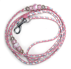 Kangaroo leather show lead in soft pink, baby blue & white
