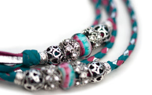 Kangaroo leather show lead in turquoise. hot pink & silver