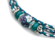 Kangaroo leather show lead in turquoise, purple & white