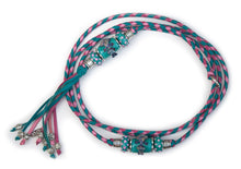 Kangaroo leather show lead in turquoise, hot pink & soft pink