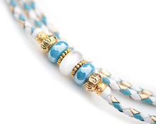 Kangaroo leather show lead in white, gold & sky blue