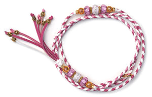 Kangaroo leather show lead in white, hot pink & soft pink