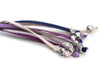 Kangaroo leather show lead in white, lavender & purple