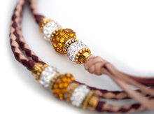 Kangaroo leather show lead in burgundy & natural - Emoticon