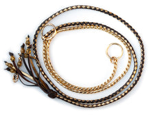 Kangaroo leather show lead in chocolate & gold - Emoticon