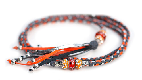 Kangaroo leather show lead in grey, orange & silver - Emoticon Kangaroo Leather Show Leads