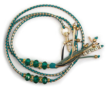 Kangaroo leather show lead in turquoise & gold