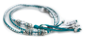 Kangaroo leather show lead in turquoise & silver