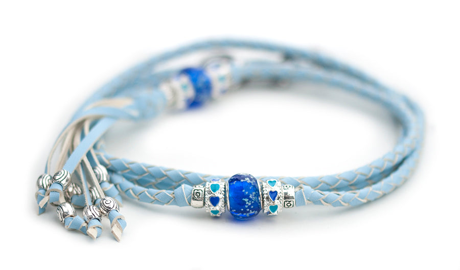 Kangaroo leather show lead in baby blue - Emoticon Kangaroo Leather Show Leads