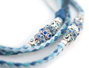 Kangaroo leather show lead in baby blue, jacaranda & sky blue