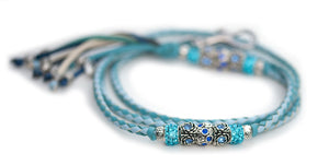 Kangaroo leather show lead in baby blue & sky blue