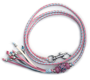 Kangaroo leather show lead in baby blue & soft pink