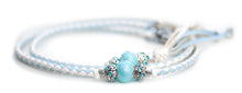 Kangaroo leather show lead in baby blue & white