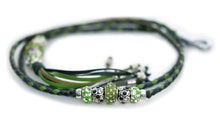 Kangaroo leather show lead in black, apple & dark green Utställningskoppel