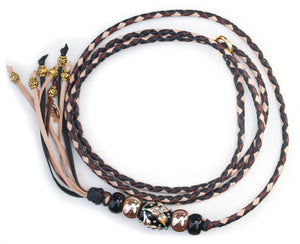 Kangaroo leather show lead in black, chestnut & natural